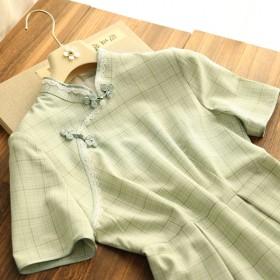 改良版旗袍短袖连衣裙少女可爱甜美年轻款夏季新款法式