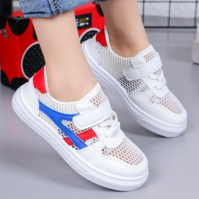 女童小白鞋板鞋网面透气时尚软底男童休闲鞋韩版皮面鞋