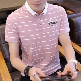 男士翻领短袖T恤Polo衫条纹潮休闲韩版青年大码T
