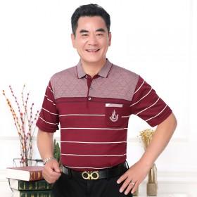 短袖冰丝T恤男夏季40-50岁中年人爷爷老人夏天