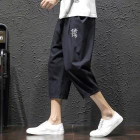 七分裤男夏季薄款宽松棉麻裤子休闲短裤2020年潮流