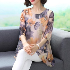 妈妈夏装上衣女2020新款韩版中年大码女...