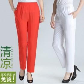 夏季薄款妈妈裤宽松高腰休闲九分裤