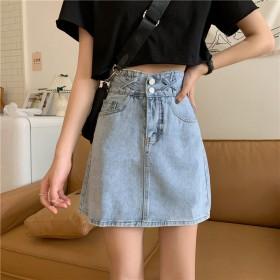 新款夏季韩版ins设计感高腰牛仔短裙女显瘦A字裙学