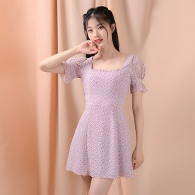 香芋紫色法式v领碎花连衣裙夏森系又纯又欲l雪纺高腰