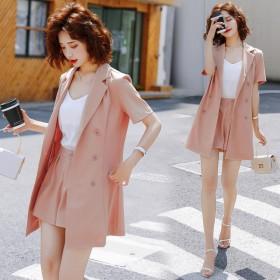 韩版粉色西装短裤套装女薄款洋气时尚小香风职业雪纺