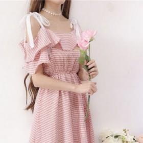 新品女装韩版小清新荷叶边一字肩系带吊带裙中长款格子