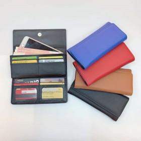 简约钱包手拿包韩版手机包长款钱包多卡位卡包纯色三折