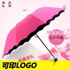 捷果雨伞遇水开花晴雨伞黑胶防紫外线三折叠太阳伞