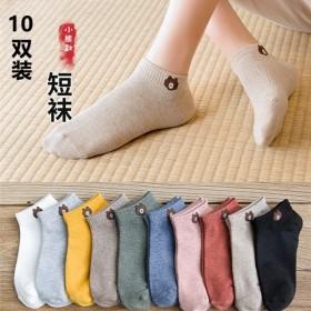 新款袜子女薄款夏季船袜运动棉袜透气吸汗卡通纯色