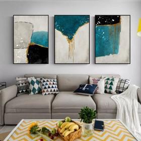 客厅装饰画现代简约抽象沙发背景墙三联画轻奢风挂画餐