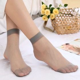 十双装夏季短丝袜超薄款黑肉色隐形透明水晶袜子女
