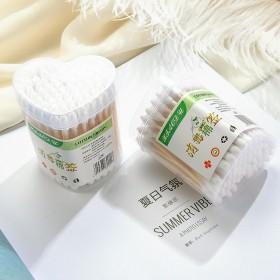 双头木棒卫生棉棒化妆棉签100支心形盒装