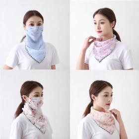夏季时尚印花雪纺防晒口罩户外骑行护颈面罩开车遮阳
