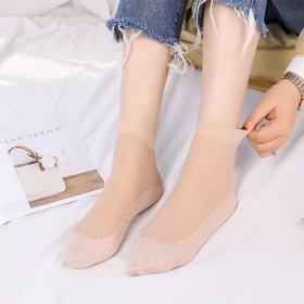 丝袜女短袜子黑肉色透明防勾丝中筒棉底丝袜防滑耐磨