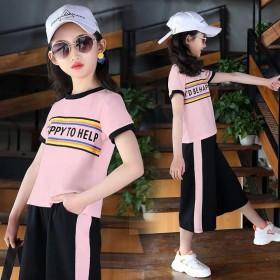 童装女童夏装女孩套装2019新款韩版短袖T恤短裤夏
