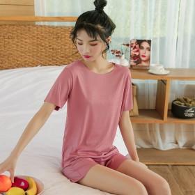 新款冰丝睡衣女夏可外穿两件套短袖短裤薄款夏季女士家