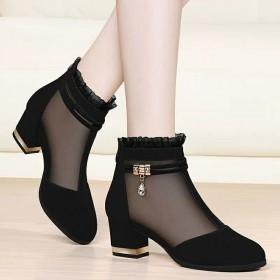 网纱女鞋高跟鞋女粗跟短筒女靴子女鞋秋冬季新款黑色鞋
