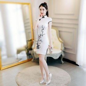 旗袍裙少女年轻修身短款2020夏日新款改良版气质