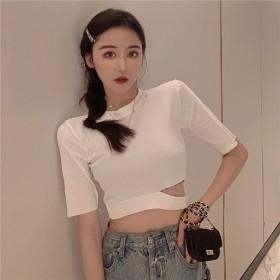 2020夏季女装气质小众设计感纯色百搭显瘦洋气露腰
