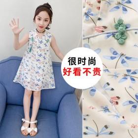 女童连衣裙新款中国风仙女无袖雪纺碎花蜻蜓古风连衣裙