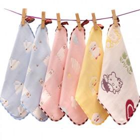 5条儿童毛巾纯棉纱布6六层婴儿