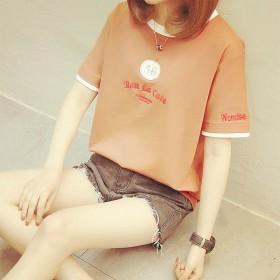 夏季韩版短袖t恤女学生新款原宿初中生女装宽松