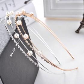 水钻发箍镶珍珠名媛头饰时尚甜美双层发带韩国造型