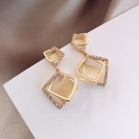 【品质款】真金电镀925银针几何菱形耳环