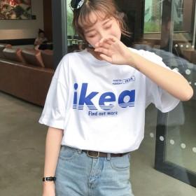 潮流女装短袖T恤女新款韩系宽松百搭港味怪味少女