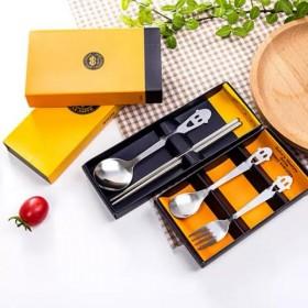 笑脸镂空大圆勺不锈钢餐具两件套商务礼品创意筷子勺子