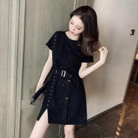 2020夏季新款闪闪系带收腰不规则连衣裙女韩版名媛
