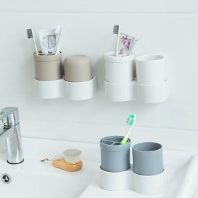 无痕壁挂洗漱用牙杯筒 卫生间置物架洗漱口杯套旅行