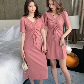 2020夏季新款韩版纯色百搭T恤裙闺蜜装修身V领抽