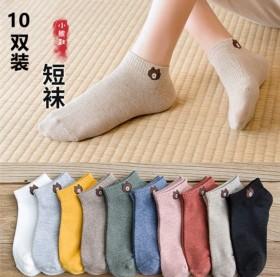 新款薄款夏季女袜运动棉袜透气吸汗卡通纯色棉袜