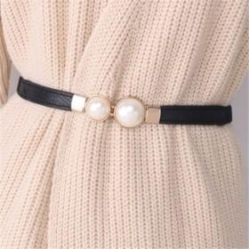 法式腰带女装饰连衣裙松紧弹力细腰封珍珠款时尚裤腰带