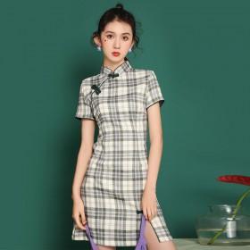 夏季新款中国风短款复古格子旗袍改良版连衣裙