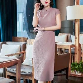 夏季新款短袖改良旗袍女复古中国风中长款立领连衣裙