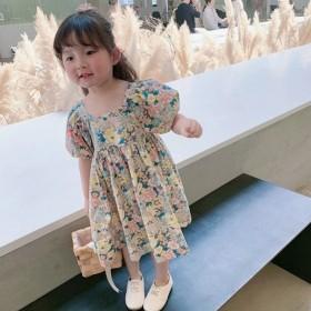 夏季新款儿童复古碎花裙女童短袖连衣裙露背裙子