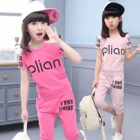 女童夏装套装新款大童女装短袖T恤裤子两件套儿童女套