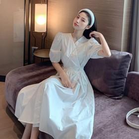 夏季韩版款收腰显瘦V领泡泡袖桔梗紫色短袖连衣裙女学