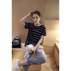 短袖女士韩版学生修身条纹T体恤百搭打底衫(何大贵)