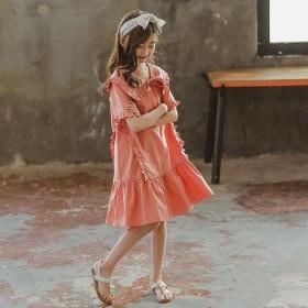 女童甜美连衣裙洋气时髦中大童娃娃领宽松纯棉裙子
