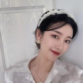 超仙软萌韩版网纱褶皱欧根纱发箍女学生可爱洗脸头箍儿