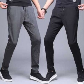 夏季冰丝薄款男士运动裤宽松小脚大码休闲修身韩版潮流