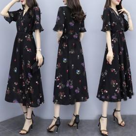 2020夏装新款大码女装碎花仿雪纺连衣裙长裙子