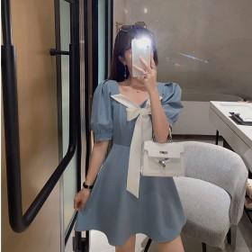 夏季新款法式复古连衣裙泡泡袖蝴蝶结连衣裙