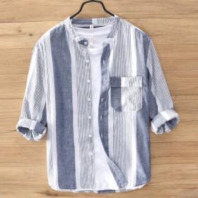 立领宽松棉麻休闲七分袖衬衫 日系夏季男短袖衬衫