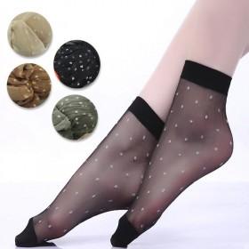 4双装夏季性感百搭超薄水晶圆点短袜浅口女丝袜ins