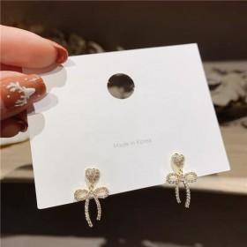 韩版s925银针甜美蝴蝶结水晶链条长款耳钉耳饰